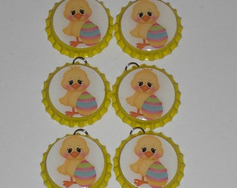 Set of 6 Whimsical Baby Chick Easter Egg Yellow Bottle Cap Charms Zipper Pulls Ornies Party Favors Tokens Mini Tree Ornaments