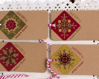 Christmas gift tags - retro snowflakes - Christmas gift wrap - kraft gift tags - holiday giftwrap - to and from tags - snowflake gift tags