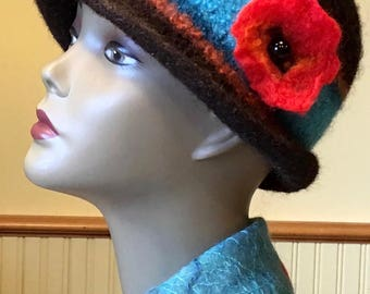 Poppy Fields 100% wool felted hat, warm, luxurious and unique