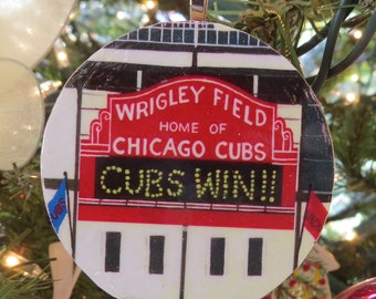 CUBS WIN!! Chicago Cubs Ornament, Decoupaged Ornament, Original Painting, Wrigley Field, World Series Winner! Unbelievable.