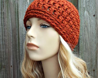Spice Burnt Orange Beanie - Crochet Womens Hat Mens Hat - Warm Winter Hat - READY TO SHIP
