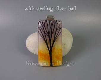 Tree Silhouette - Sterling Silver, Fused & Painted Glass Pendant Necklace - Rowanberry Designs - art drawing painting SS6