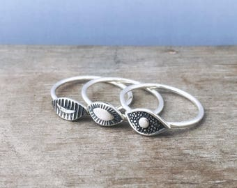 Eye stacking rings - sterling silver rings - third eye rings - evil eye ring - unique rings - boho rings - bohemian rings - stack