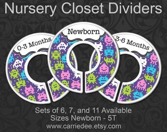 Girls 8 Bit Monsters Nursery Closet Dividers, Baby Girl Clothes Organizers, Baby Girl Gift, Monster Nursery Decor, 8 Bit Nursery, 8 Bit Baby
