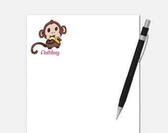 Baby Monkey Notepad - Personalized Baby Monkey Notepad - Personalized Notepad - Personalized Stationery for Kids - Baby Monkey Notepads