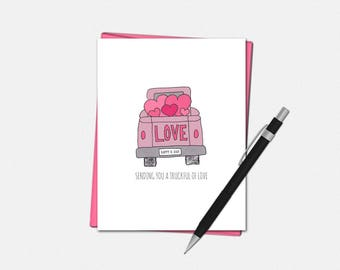 Love Card - Truckful of Love Card - Valentines Day Card - Cute Love Card - Love Card for Him - Valentine Card for Him