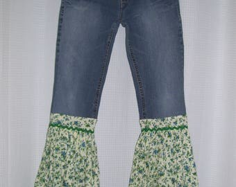 Glamping Hippie Bell Bottom Jeans OOAK Retro Boho Upcycled Flow Jean Green Flowing Bell Bottoms Adult 7/8 Stretch Jeans  Ready to Ship