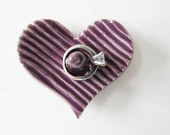 Heart Shaped Ring Holder, Ring Dish, Ring Bowl, Purple Plum - Ready to ship
