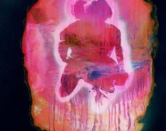 With Fire In Hand 30x40 Sex Space Stars Large Painting