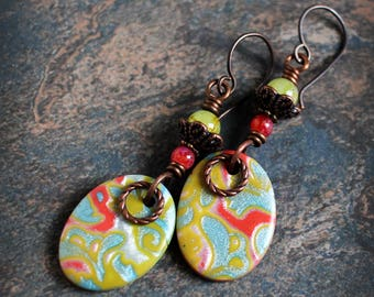 Strawberry Lime. Artisan made earrings. Colorful dangle earrings. Handmade beads, antiqued solid copper. Aqua Lime Red.