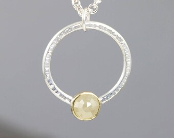 4mm Yellow Rose Cut Diamond in 18k Yellow Gold and Sterling Silver Pendant - Small Natural Round Gem Hammered Metal Necklace - READY TO SHIP