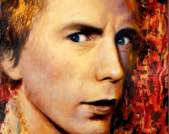 "ORIGINAL Johnny Rotten painting, 9x12"", oil on canvas, Sex Pistols"