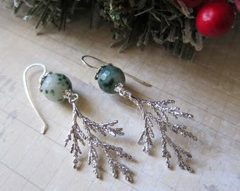 Douglas Firs - Evergreen Earrings with Silver and Green Agate
