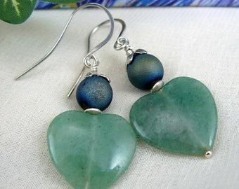 Heart Earrings ~ Aventurine Heart Earrings ~ Green Heart Earrings ~ Green Earrings ~ Heart Dangle Earrings ~ Heart Shaped Earrings ~ Hearts