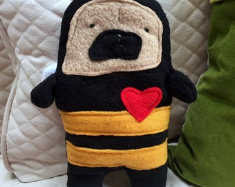 Buzzy ~ The Pug-a-Bee Bummlie ~ Stuffing Free Dog Toy ~ Ready To Ship Today