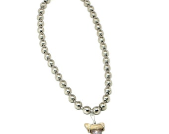 Fossil Shark Tooth 9.5mm Ball Chain Necklace Made in USA 20, 24, 30 Inches Large Sharks Teeth 7014M