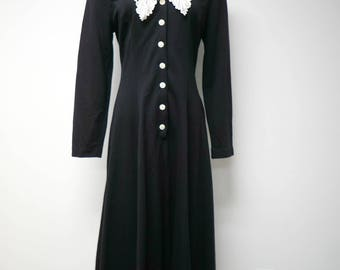 E.D. Michaels by Melanie Drucker  .  80s 90s black and white dress   .   size 7 / 8  .   made in USA