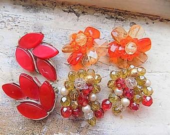 FREE SHIPPING Vintage Lot Clip Earrings Destash Red Orange Gold