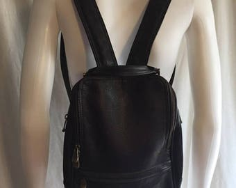 SALE 25% off SALE 90s backpack leather brown minimalist backpack