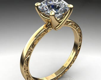 xena ring - 1.5 carat diamond cut round NEO moissanite engagement ring