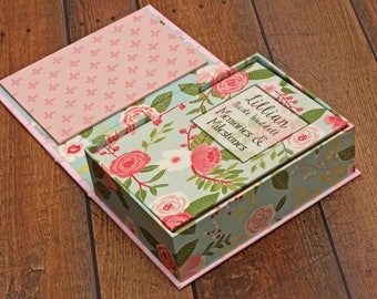 Baby Memory Box for Photos and Keepsake Journal, Alternative Baby Book, Though She Be But Little She is Fierce, Minimalist, Pink Aqua Floral