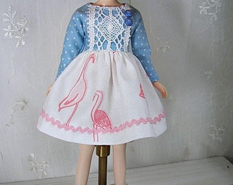 Blythe Doll Dress,  Blythe Dress. Long Sleeves, Pink Flamingos