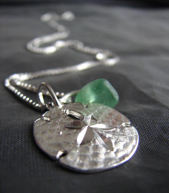 Little Sand Dollar sea glass necklace in true green
