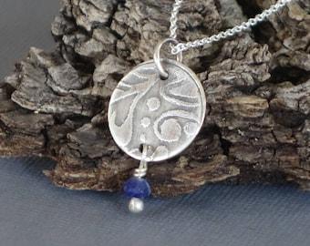 Lapis Pendant, Lapis Necklace, Etched Pendant, Metalwork Pendant, Blue Pendant, Blue Necklace