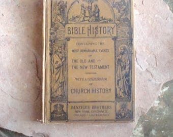 Vintage 1930s Bible History Text Book Illustrated for Catholic Grammar School Benzinger Brothers, Old & New Testaments  Pope Leo XIII