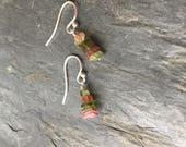 Watermelon Tourmaline Stick Earrings Sterling Silver Simple Fun Talisman Gift