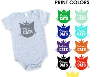 Prince of Cats Onesie in Heather Grey - Infant and Toddler Sizes - Cat Lover, Cat People, Expecting, Matching, Boy, Baby Shower