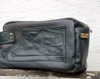 Unique Black Leather Toiletry Bag - Upcycled Vintage Leather Hunter Jacket Germany - for Men and Women