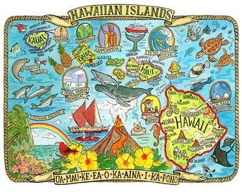 "Hawaii Islands State Map 8""x10"""
