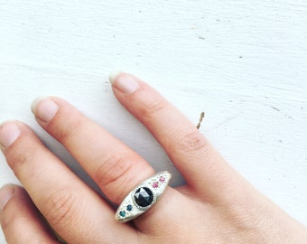 Relic Ring in Sterling Silver with Rose Cut Black Diamond and Blue Diamonds and Pink Tourmalines Eye Ring
