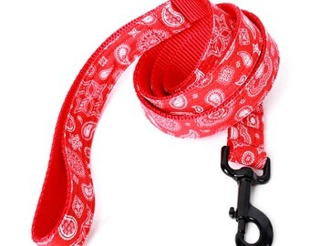 Bandana Dog Leash - 4' or 5' - 3 colors to choose from