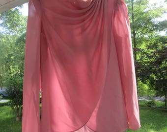 Vintage Ladies Dress - Soft Pink Two Piece Size 10 - 1980s Mother of the Bride Dress