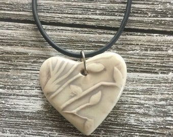 Khaki Leaves Porcelain Heart Pendant 1