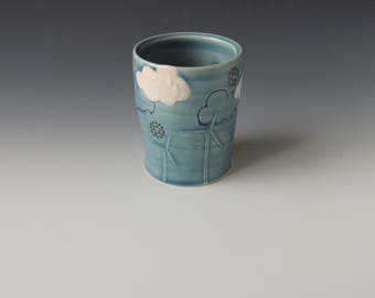 Turbine Clay Tumbler - blue porcelain ceramic cup with windmills, nuclear snowflake decals, and clouds - wheel thrown handmade pottery