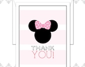 Minnie Mouse Stationery set of 10 folded cards, Minnie Mouse Cards, Minnie Mouse Bow Notecards, Modern Minnie Mouse Cards, Polka Dot Bow