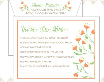 You're so Kind flower stationery set of 10 flat cards and envelopes, Cancer thank you stationery, Grateful Notecards, Helping hands cards
