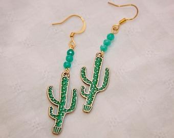 Cactus earrings, cacti earrings, cactus jewelry, cactus charm jewelry,  southwestern fashion, boho jewelry, saguaro cactus earrings, hippie