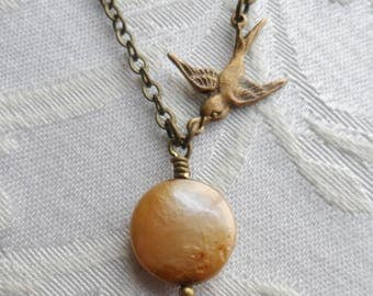 50% Off Coin Pearl Necklace with Brass Ox Sparrow, Bird, Swallow,Timeless Trinkets,