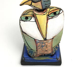 "Owl art, handmade one of a kind ceramic owl art,""Owl Person and the Beauty Bird Dreaming Love"", 6-5/8"" tall"