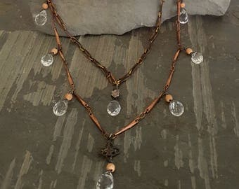 BEAUTY - Crystal Rosary Necklace, Antique Copper Chain, Gemstone Teardrop Necklace, Mixed Metal, Rose Gold, ViaLove