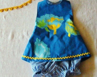 SALE!  Marimekko 12-24M Dress with Bloomers Halter Outfit  in Blues White Yellow  READY to SHIP