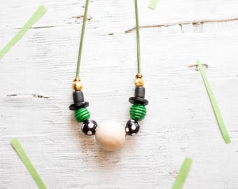 Beaded Necklace, Statement Necklace, Chunky Beads, Modern Necklace, Green Black Gold Necklace, Hand-made Beads