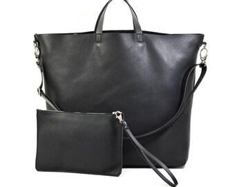 Nicole - Handmade Black Leather Tote Bag & Clutch SS17