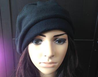 Fleece Hat Slouchy Beret Tam Black Cold Weather Fashion