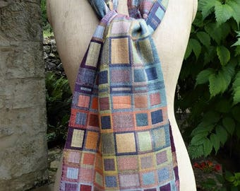 Handwoven Scarf, Doubleweave Silk Scarf for Men and Women