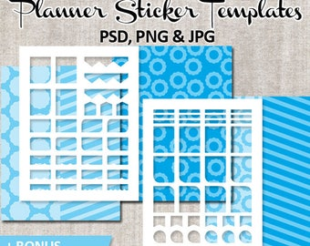 Commercial use planner stickers template blank / DIY printable Erin Condren Life Planner / Winter blue, commercial use photoshop template